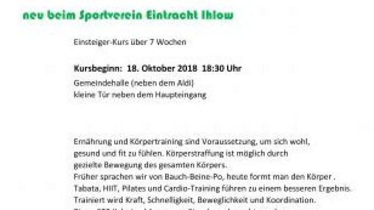 """2 neue Kurse beim Sportverein """"SV Eintracht Ihlow"""" – Bodyformer vs. Zumba"""