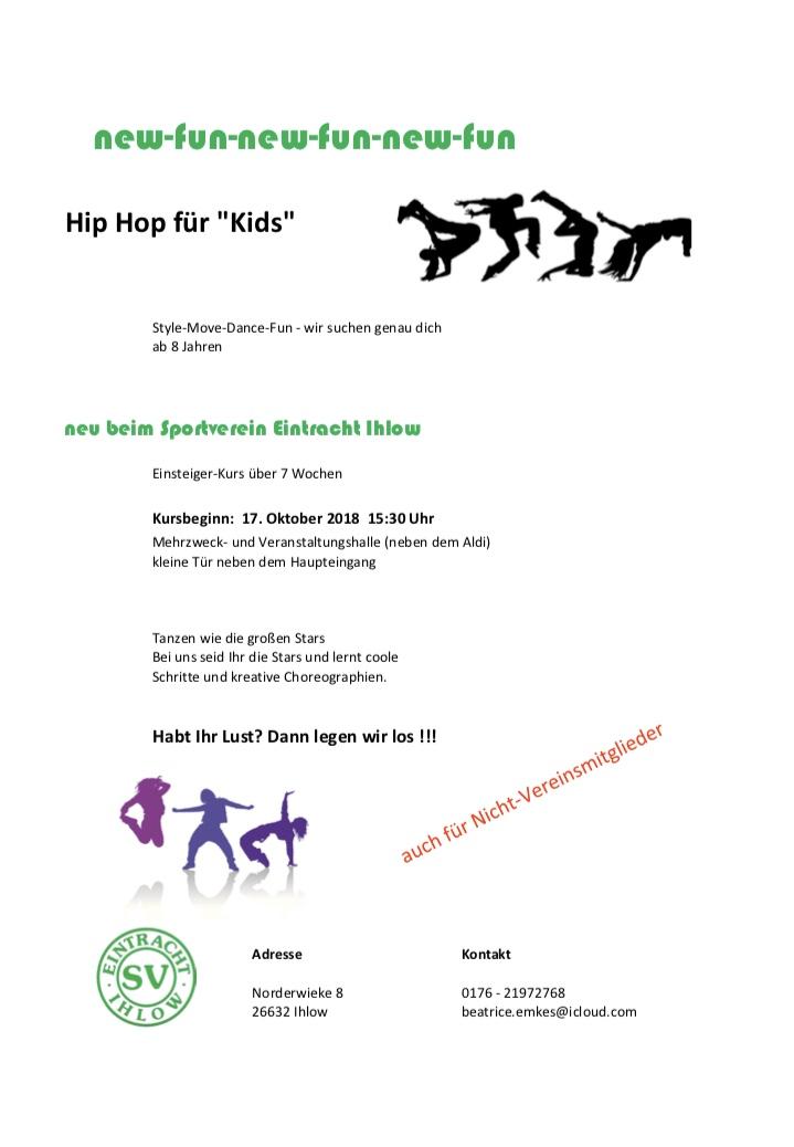 """Hip Hop für Kids – """"Oktober 2018"""""""