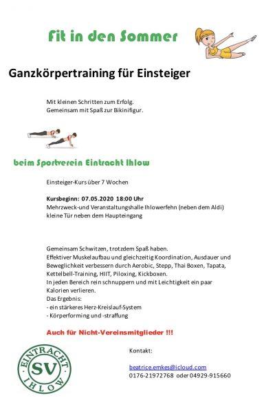 """Neuer Einsteigerkurs im Mai – """"Fit in den Sommer"""""""